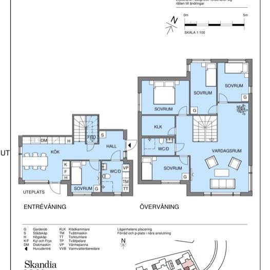 Planlösning på tvåplansvilla